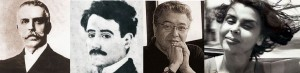 Manuel Gonzáles Prada, José María Eguren, José Watanabe, Blanca Varela. (Fotos: Google)