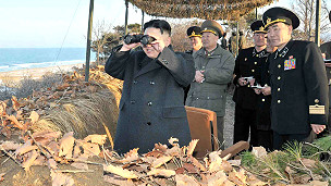Kim Jong-un de visita en un puesto militar en Corea del Norte