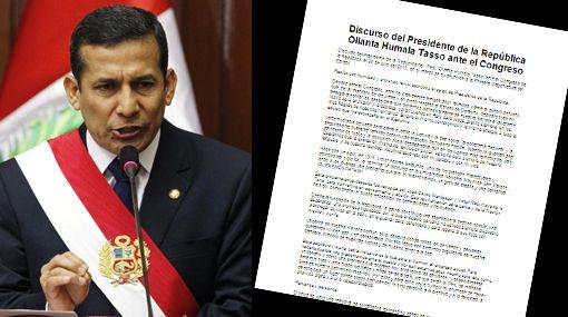 Mensaje presidencial de Humala en tres formatos: texto, audio y video